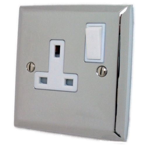 G&H SC9W Spectrum Plate Polished Chrome 1 Gang Single 13A Switched Plug Socket